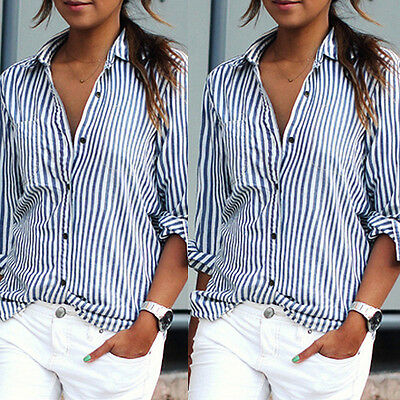 Women's Striped Casual Tops Shirt Loose Fashion Blouse Clothes Plus Size T-Shirt