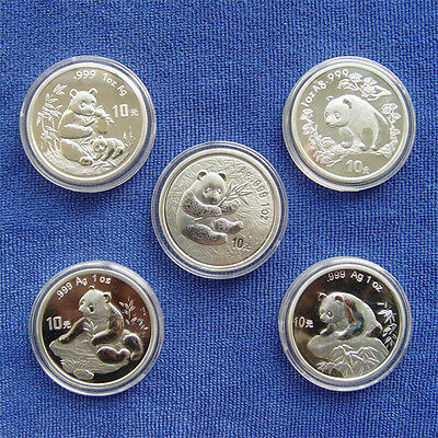 Panda Silver Coin 10 Yuan 1oz Chinese 5pcs 1996--2000 Year Commemorative Coins