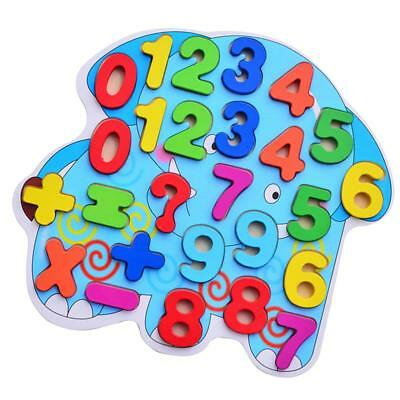 Kids Colorful Wooden Numbers Jigsaw Elephant Puzzle Children Educational Toy