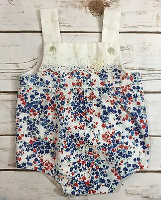Vintage 80s Picture Story Sunsuit One-Piece Baby Girl Romper Floral Eyelet M