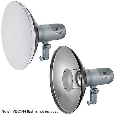 "Neewer 16"" Aluminum Standard Reflector Beauty Dish with White Diffuser Sock"