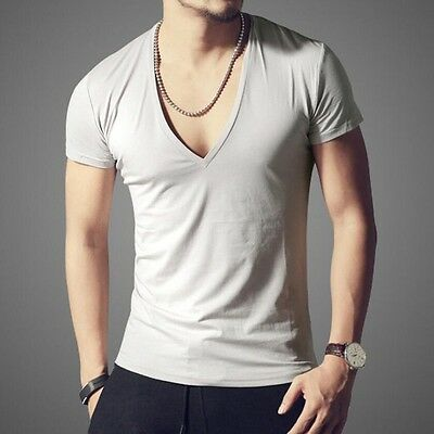 Sexy Men's Summer Deep V-neck Slim Fit Short Sleeve Cotton Casual T-Shirts Tops