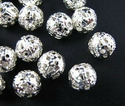 1000pcs Silver Plated Filigree Spacer Beads 6mm C284SP