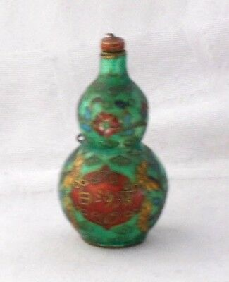 Chinese Cloisonne Double Gourd Snuff Bottle & Stopper With Calligraphy & Flowers