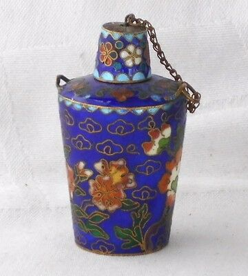 Chinese Cloisonne Snuff Bottle And Stopper Decorated With Flowers