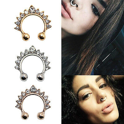 Punk Fake Septum Faux Clicker Nose Ring Non Piercing Hanger Clip On Jewelry Gift