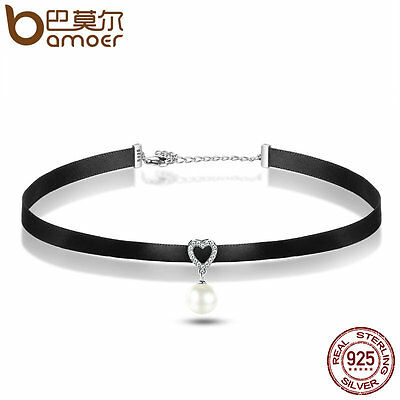Bamoer Jewelry Black Classic Choker Necklace with S925 silver Pure heart Pendant
