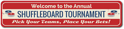 Shuffleboard Tournament Sign, Welcome Annual Party Game Winner ENSA1002388