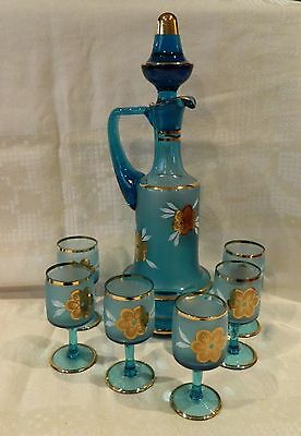 Bohemia Blue Decanter & 6 Glasses Gold Flowers & White Leaves
