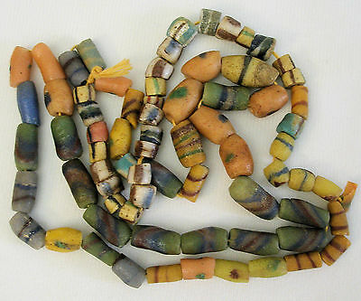 """Antique African Sand Cast Trade Bead Necklace 30"""" Strand"""
