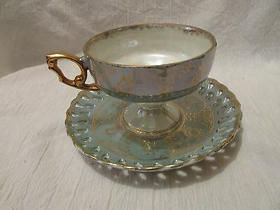 Vintage Enesco Green Iridescent Cup and Saucer Set With Original Stickers