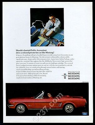 1966 Ford Mustang convertible red car CPA accountant photo vintage print ad