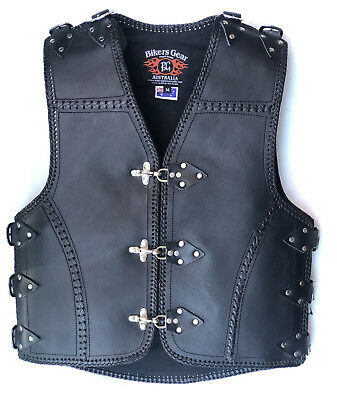 New Heavy Duty 3MM Thick A Grade Metal CLASP Motorcycle Club Leather Vest
