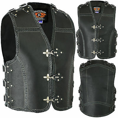 New Heavy Duty 3MM Thick A Grade Metal CLASP Motorcycle Club Leather Vest LAREGE