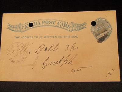 1891 Canada Post Card with St Thomas & Fort Erie RYPO Cancelled MY 26 91