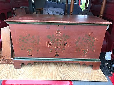 Antique Paint Decorated Palmer Blanket Chest Box Dower Fulton County PA AAFA