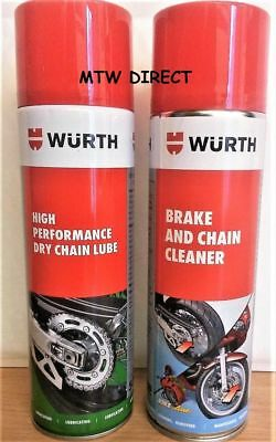 WURTH  500mls HIGH PERFORMANCE DRY CHAIN LUBE AND BRAKE & CHAIN CLEANER CANS