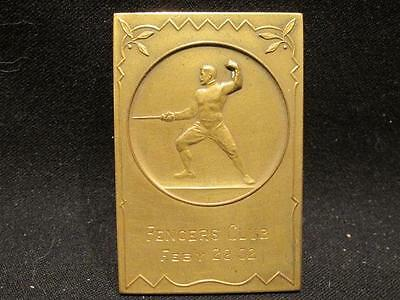 1932 Fencers' Club Bronze/Brass Award Plaque or Medal Made in Germany