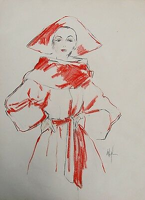 4 1950s ORIGINAL VOGUE FASHION DRAWINGS by MARYBELLE SCHMIDT BIGELOW (Listed)