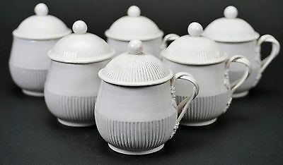 White Italian Italy Pottery Covered Custard Cup Set of Six - B