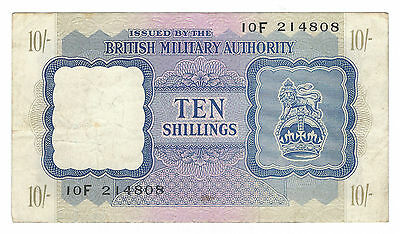Nd (1943) British Military Authority, 10 Shillings Note, P-M5, Very Fine