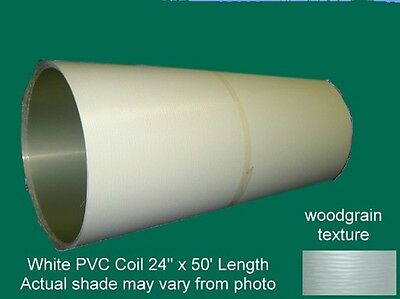 """White Textured PVC Coated Aluminum Trim Coil 24"""" x 50'  Made in USA"""