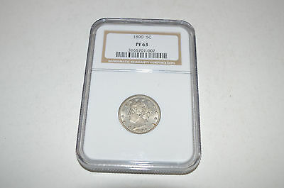 1890 Liberty V Nickel Numismatic Guaranty Corporation NGC PF 63 Proof Nice!
