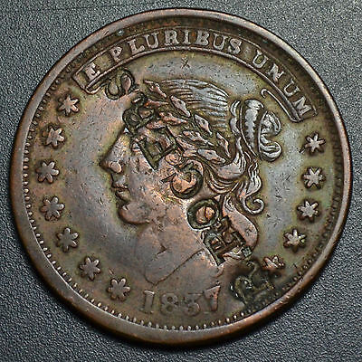 """1837 Hard Times Token, Ht-48, """"r Rogers"""" Counterstamp Unlisted In Brunk"""