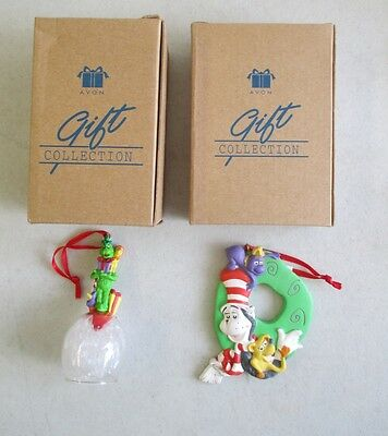 Pair Of 1998 Mib Avon Exclusive Dr.seuss The Grinch & Cat In The Hat Ornaments