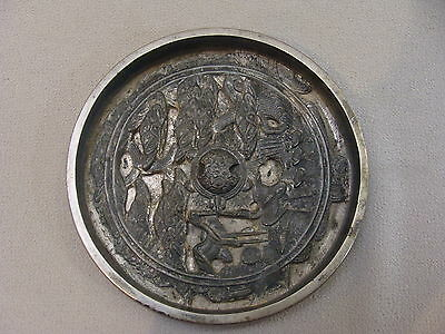 Antique Chinese  Bronze Hand Mirror, Turtle Symbols with High Relief Decoration
