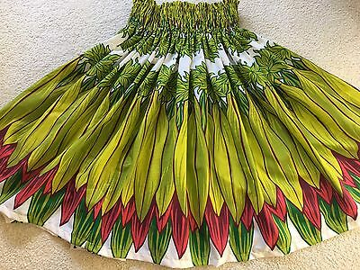 "New Green Burgundy Hawaiian Pau Pa'u Hula Skirt Ti  Leaf  Print  28"" Long"