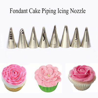 8Pcs Newly Large Open Star Icing Piping Nozzle Cake Decorating Pastry Tips Tool