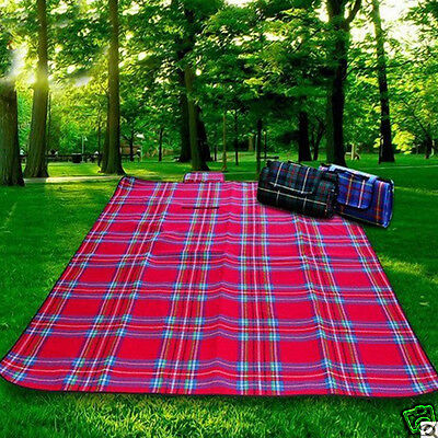 Plaid Style Folding Rug Blanket Outdoor Picnic Camping Park Beach Play Mats 1Pcs