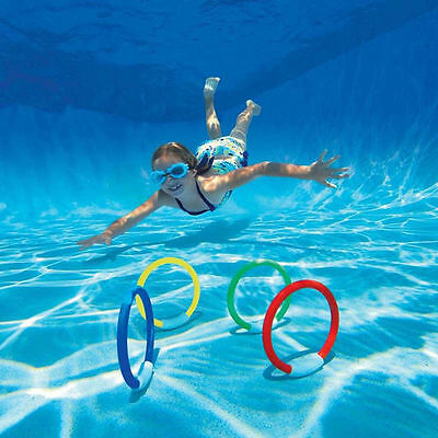 4PCS OutdoorDive Ring Swimming Pool Toy For Kid Diving Pool Toy Rings Brand New