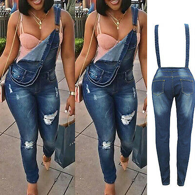 Fashion Women's Denims Pants Jumpsuits Romper Ripped Jeans Suspender Trousers