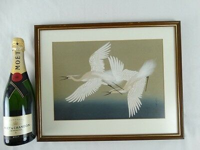 Vintage Japanese Signed Watercolour painting of Sacred Cranes Japan mid 20thC