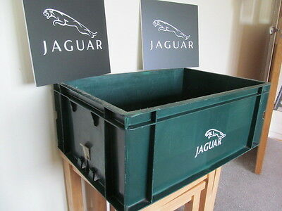 Genuine Reclaimed Jaguar  Garage Dealership Parts Crate And Two Signs.