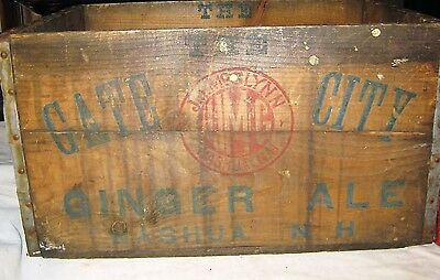 Antique Gate City Nashua Nh Usa Country Wood Ginger Ale Soda Bottle Art Sign Box