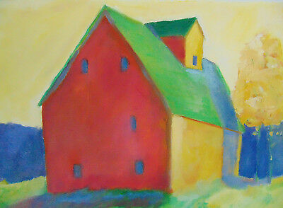 Original Oil Painting by Claire Whitehead 12 x 9 on Paper Signed Farmhouse