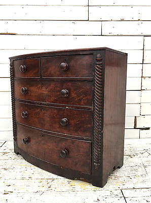 Large Antique Victorian Mahogany Chest Drawers Rustic Farmhouse Bow Tall Boy