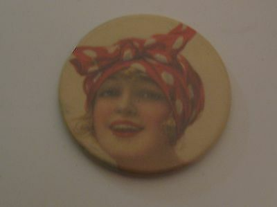 Vintage Advertising Girl Pocket Mirror ~ Nice Shape For It's Age !