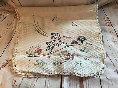 "VINTAGE TABLE RUNNER-HAND EMBROIDERED LAMB 36"" x 14 1/2"""