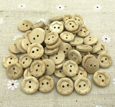 Round Wood color Wooden Buttons Sewing Scrapbooking 2-holes 15mm