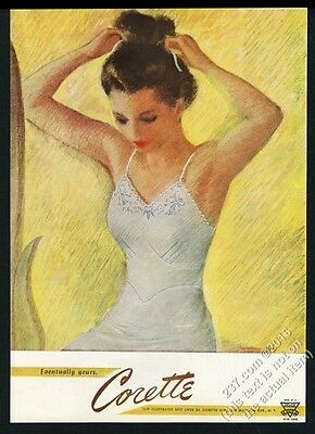 1947 Corette lingerie woman in white slip illustrated vintage print ad