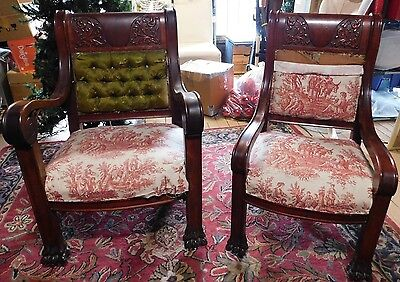 2 Antique Heavily Carved Throne Victorian His & Hers Armchairs~for restoration