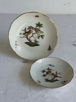 2pcs Antique ROTHSCHILD Bird HEREND Porcelain Butter Pat Pin Ring Dishes c1920s