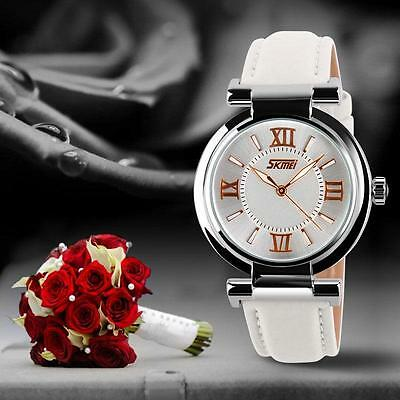 New SKMEI Women's Fashion Casual Leather Analog Quartz Wrist Watch Waterproof SF