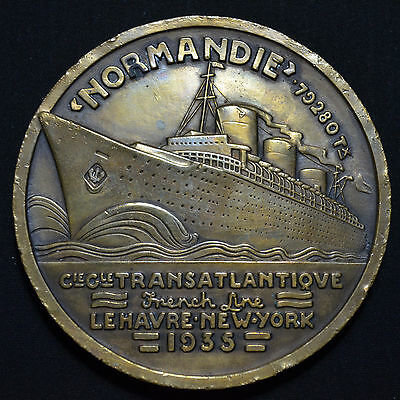 1935 Ss Normandie, French Line, Maiden Voyage, Large 68Mm Bronze Medal