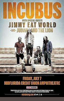 INCUBUS / JIMMY EAT WORLD 2017 TAMPA CONCERT TOUR POSTER - Alt/Funk Rock Music