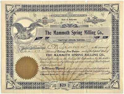 Stock: Mammoth Spring Milling Co (Mammoth Spring, Ark): 1 Share - Unissued: 1922
